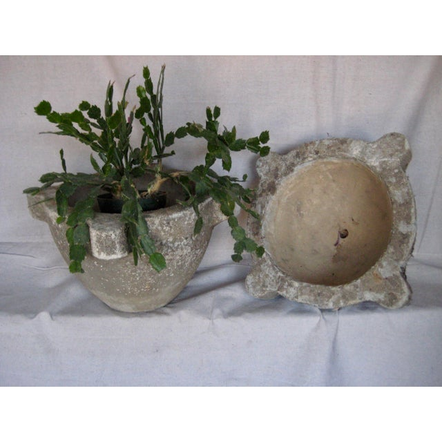 A big classic in french country garden decor planters in a shape of a mortar , this large pair is coming from Provence,...