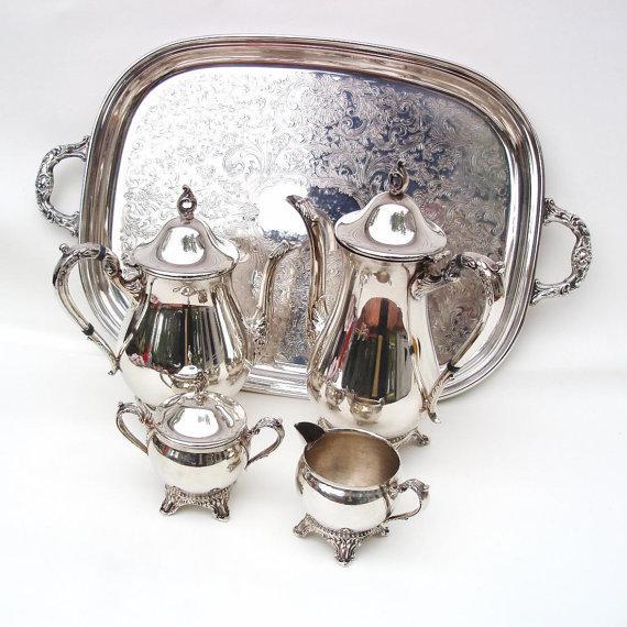 Tea Coffee Set 6 Pc Silver Plate Tea Service - Image 3 of 6