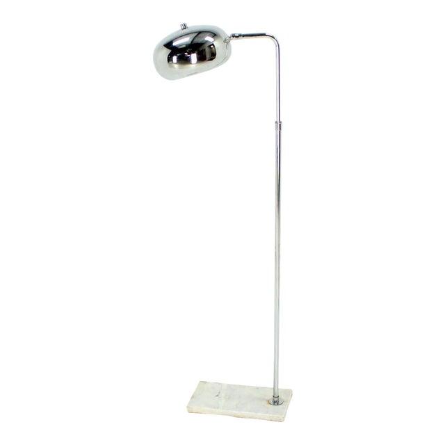 Marble Base Chrome Floor Reading Lamp For Sale