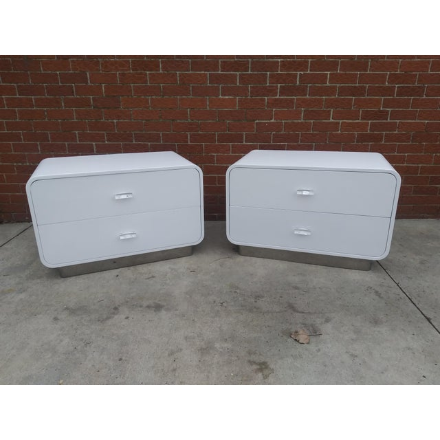 1970s Vintage Space Age Karl Springer Style Nightstands-a Pair For Sale - Image 13 of 13