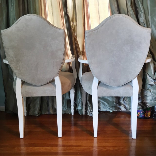 Vintage Reupholstered Gray Dining Chairs - A Pair - Image 6 of 6