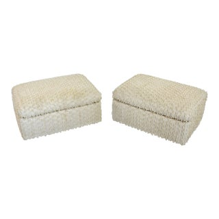 Cream Thayer Coggin Rolling Ottomans - A Pair For Sale