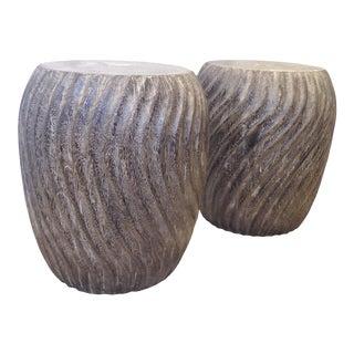 Vintage Carved Burnt Wood Stools - a Pair For Sale
