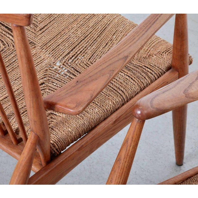Pair of German Studio Lounge Chairs in Ash and Papercord For Sale - Image 6 of 8