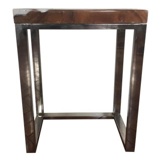 Mid-Century Modern Stone & Chrome Side Table