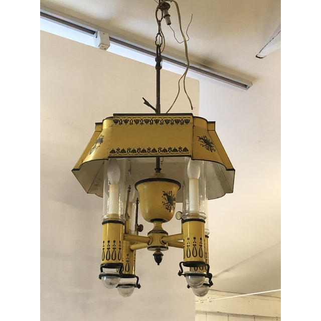 French Iron and Tole Painted 4-Arm Chandelier For Sale - Image 4 of 10