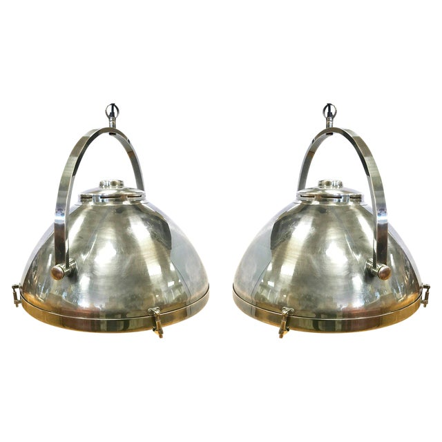 Pair of Industrial Mid Century Hanging Pendant Light Fixtures Lighting For Sale - Image 11 of 11