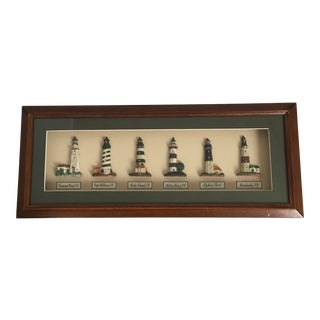 """Nautical Traditional Framed Shadowbox """"American Lighthouses"""" Wall Art For Sale"""