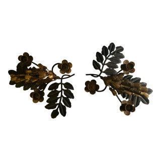 Iron and Gilt Candleholders - Set of 2 For Sale