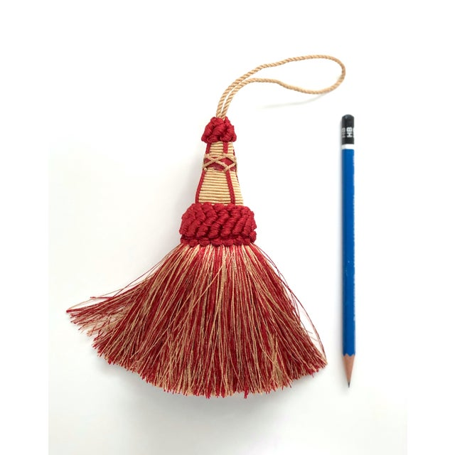 2010s Key Tassel in Red and Gold With Looped Ruche Trim For Sale - Image 5 of 9