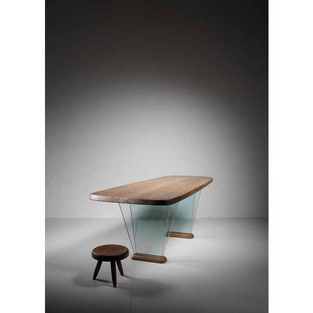 1970s Robert Sentou Desk with Glass Legs For Sale - Image 5 of 6