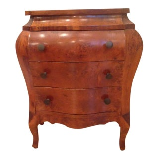 1950s Baroque Burlwood Chest of Drawers/Side Table For Sale
