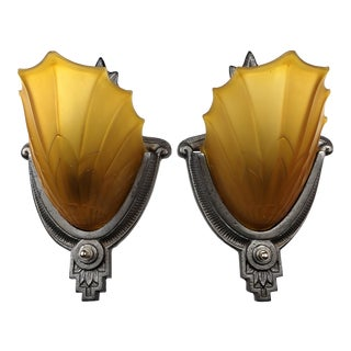 Art Deco Mediterranean Slip Shade Shell Wall Sconces by Electrolier Mfg. Amber Glass Period Lighting - a Pair For Sale