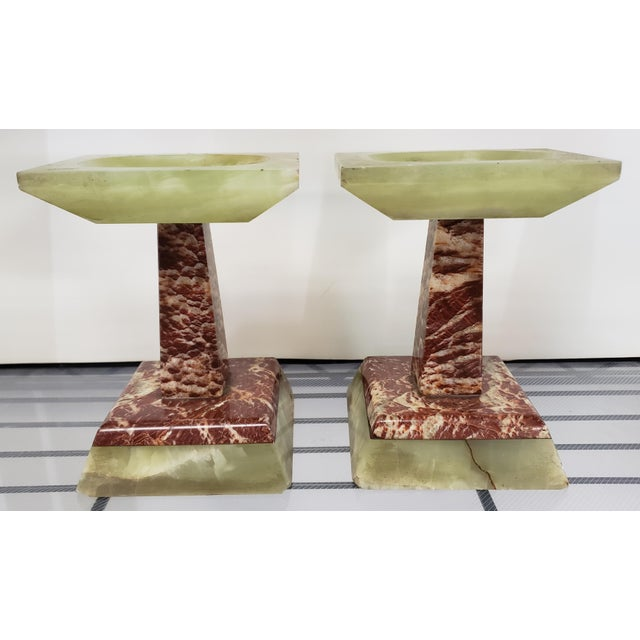 Late 19th Century French Marble and Onyx Tazzas - a Pair For Sale - Image 4 of 7