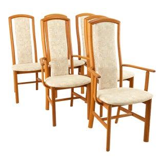 Skovby Mobelfabrik Mid Century Teak Highback Dining Chairs - Set of 6 For Sale