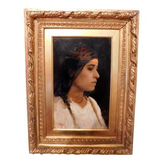 """Late 19th Century Oil Painting """"Egyptian Girl"""" by Leopold Carl Mueller For Sale"""