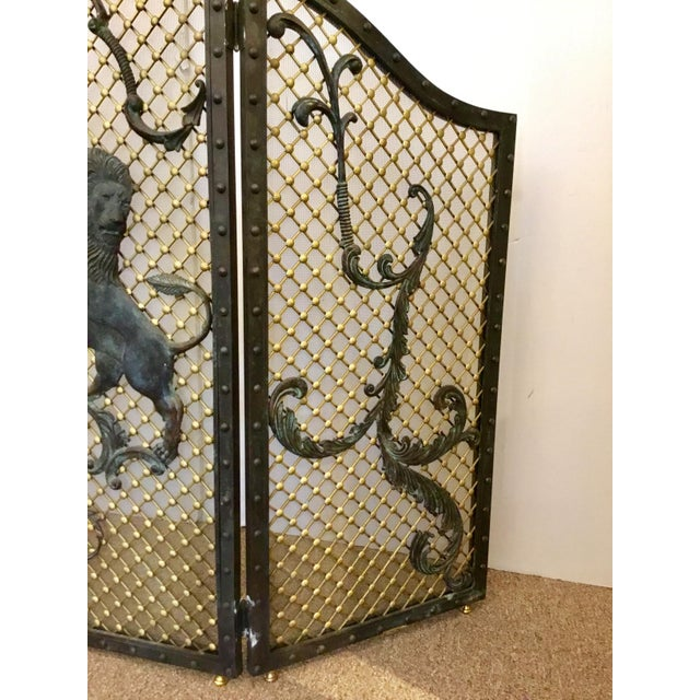 Stylish Maitland-Smith Traditional Large Iron Fire Screen, lions, gorgeous vertagris patina, brass background, showroom...