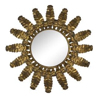 1950s Round Gilt Metal Sunburst Mirror For Sale