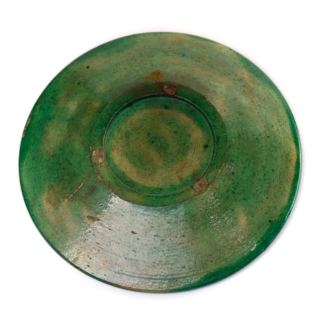 Japanese Oribe style ceramic Abura-zara, an oil plate used to catch the drippings from a suspended oil dish in a lantern,...