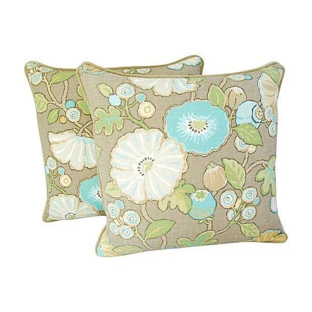 Designer Linen/Velvet Floral Pillows - A Pair - Image 7 of 7