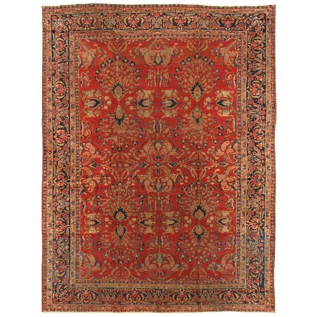 "Pasargad Antique Sarouk Area Rug - 8'10"" x 11'5"" For Sale"