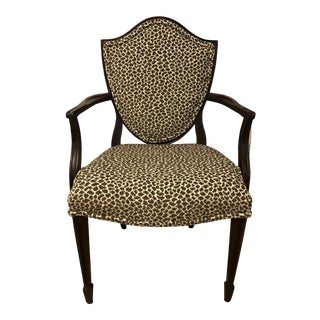 1940s Antique Leopard Jaquard Velvet Shield Back Chair For Sale
