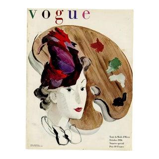 """""""Vogue Paris, October 1936"""" Original Vintage Fashion Magazine Cover For Sale"""