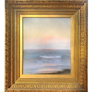 Large 19th Century Antique Pastel Seascape Painting by Alfred Perkins For Sale
