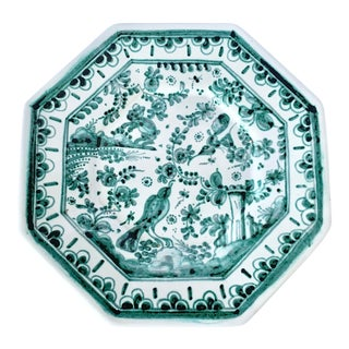 Vintage Octagon Shaped Hand Painted Portuguese Decorative Plate For Sale