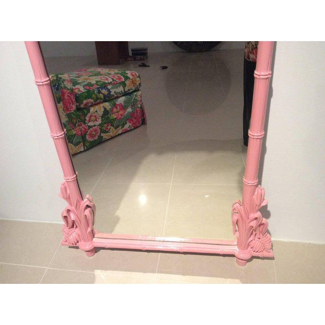 Gampel & Stoll Lacquered Flamingo Pink Faux Bamboo Wall Mirror - Image 5 of 10
