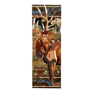 "Art Deco ""Summer Bull"" Elk Tile Wall Hanging For Sale"