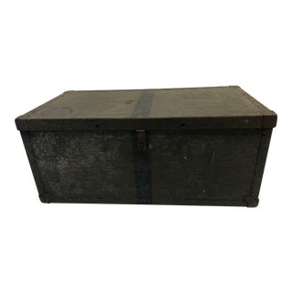 Vintage Industrial Wood Military Foot Locker Trunk For Sale