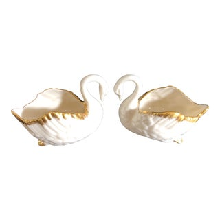 1940s Vintage Lenox Gilded Feather Swan Creamers- A Pair For Sale