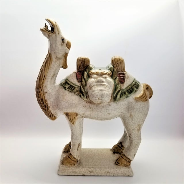 Vintage Chinese Ceramic Camel Buddha Statue Sculpture - Tang Style - Asian Mid Century Modern Palm Beach Boho Chic Chinoiserie For Sale In Miami - Image 6 of 12