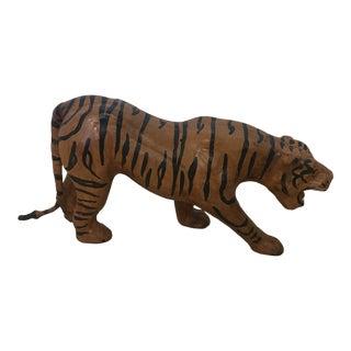 1970s Vintage Leather Tiger Figurine For Sale