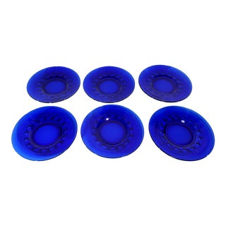"Indiana Cobalt Blue Thumbprint 8 1/2"" Plates - Set of 6 For Sale"