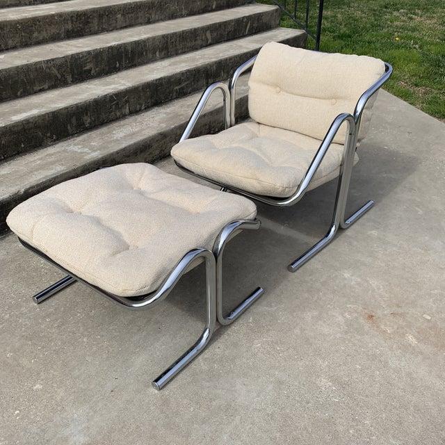 70s Jerry Johnson Chrome Sling Chair & Ottoman For Sale - Image 10 of 10
