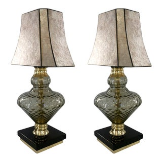 1980 Italian Vintage Smoked Murano Glass Lamps With Black & Brass Accent - a Pair For Sale