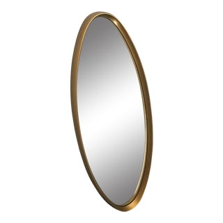 Large Mid-Century Gold Framed Oval Mirror For Sale