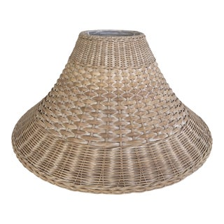 Vintage Asian Style Natural Colored Wicker Woven Large Lamp Shade With White Wash For Sale
