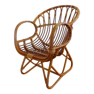 Franco Albini Style Oversized Rattan Chair For Sale