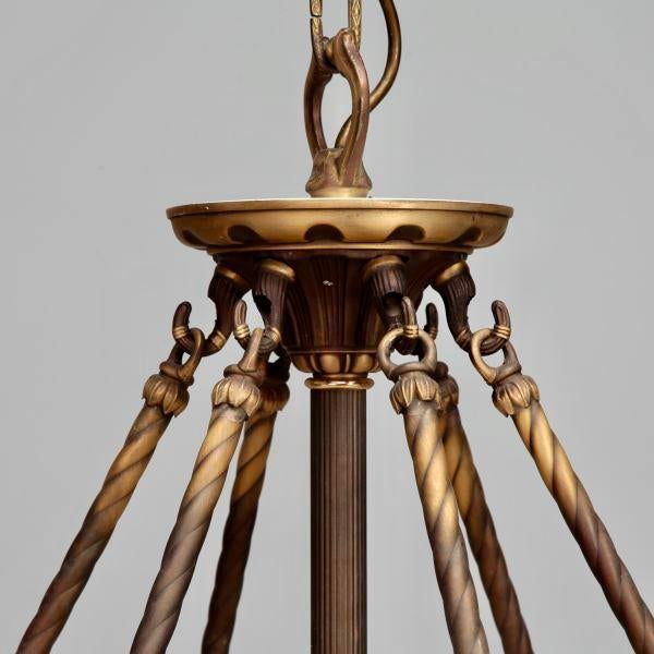 Large Italian Alabaster Neoclassical Style Fixture with Bronze Chain and Fittings For Sale - Image 5 of 11