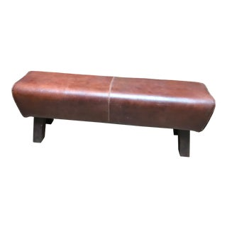 Mid Century Modern Distressed Brown Leather Bench For Sale