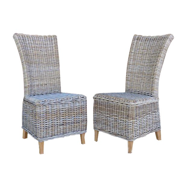 Rattan Wicker High Back Dining Chairs - Set of 6 For Sale - Image 11 of 11