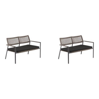 Outdoor Loveseat, Carbon and Mocha with Pepper Cushion (Set of 2) For Sale