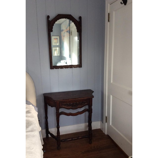 Early 19th Century Rustic Dark Oak Console and Mirror - 2 Pieces For Sale - Image 13 of 13