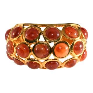 Kenneth Jay Lane Hinged Cuff Bracelet Faux Carnelian Cabochons For Sale