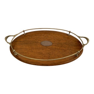 English Oval Oak Tray With Brass Gallery and Handles For Sale