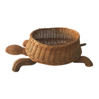 Mid Century Mario Torres Lopez Style Chinoiserie Large Wicker Turtle Basket Planter For Sale
