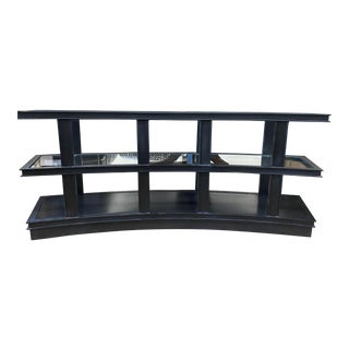 Vanguard Furniture Micheal Weiss Fitz Curved Charcoal Black Metal & Glass Console Table For Sale